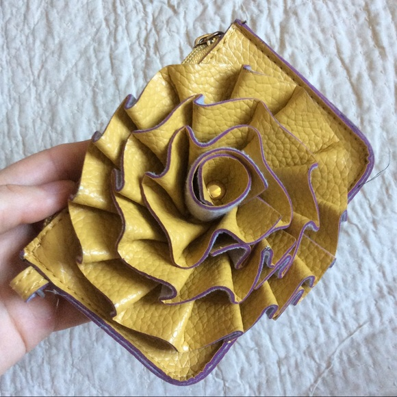 Macy's Handbags - SOLD Rose Ruffle Coin Pouch Yellow